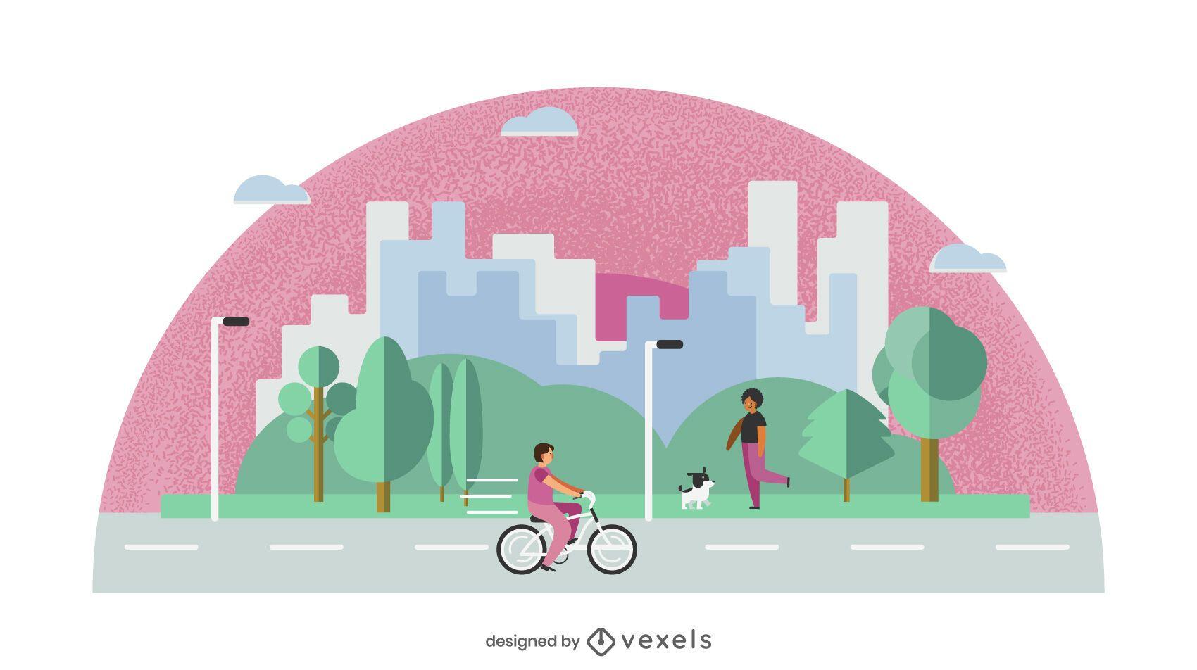 Flat Design City Park Illustration