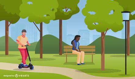 Diseño de ilustración de parque público