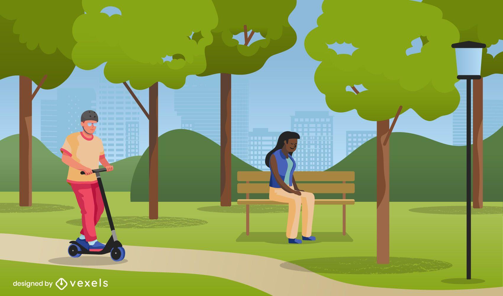 Public park illustration design