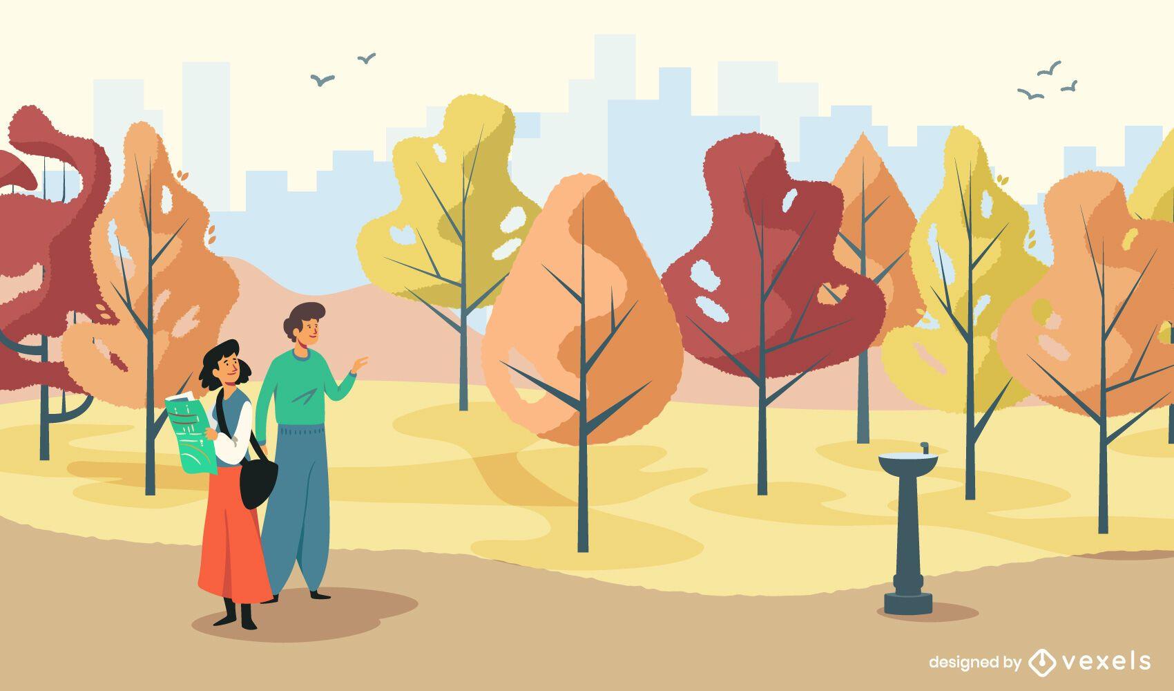 Pareja en el diseño de ilustración del parque