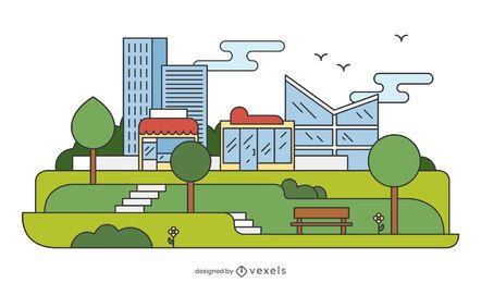 Ilustración plana del parque de la ciudad