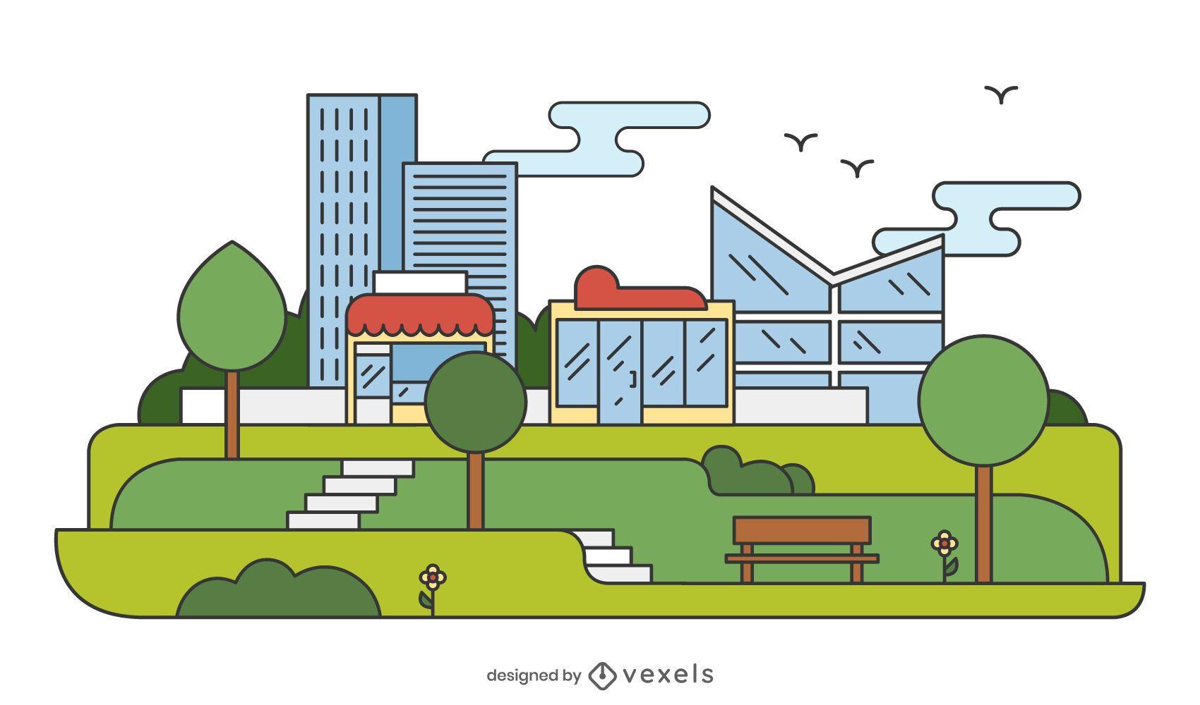 City Park Flat Illustration