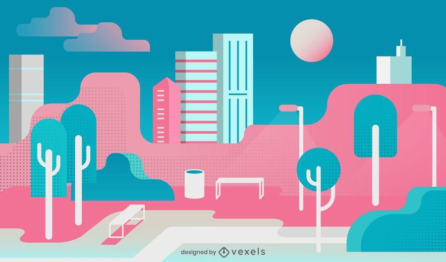 Colorful Flat City Park Illustration