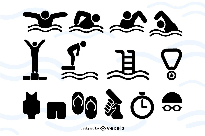 Pacote de ícones de eventos de natação