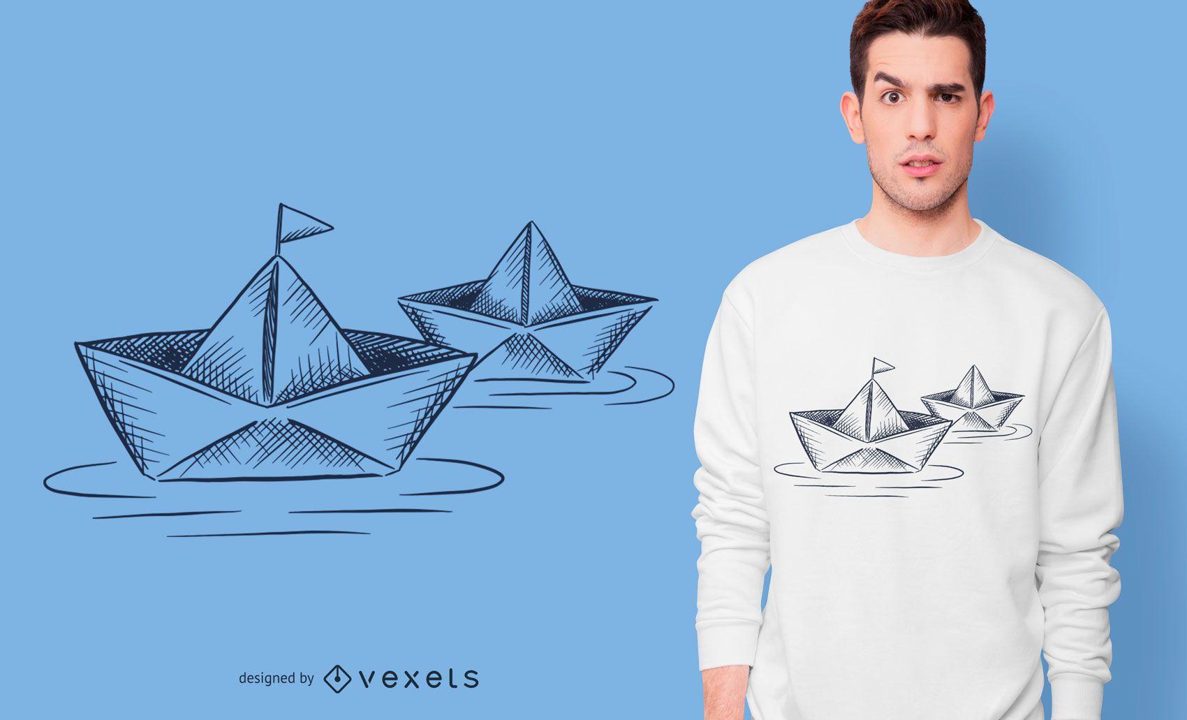 Diseño de camiseta de barcos de papel.