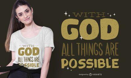 Com design de camiseta de deus