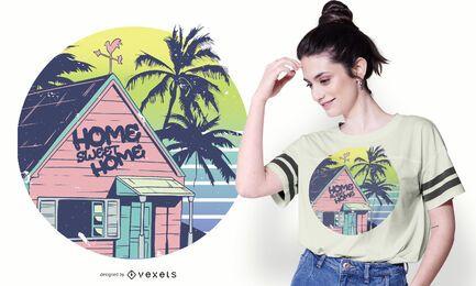 Diseño de camiseta de casa de playa