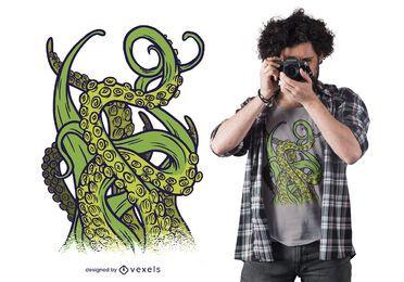 Design de t-shirt com tentáculos verdes