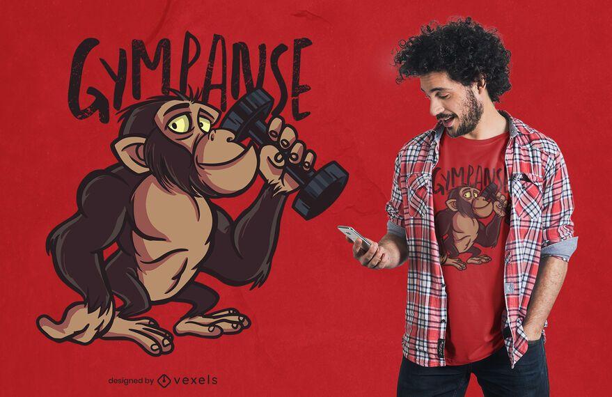 Gympanzee Cartoon T-shirt Design