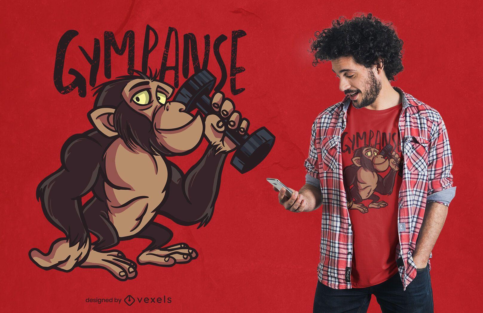 Diseño de camiseta de dibujos animados Gympanzee