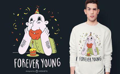 Diseño de camiseta de cumpleaños para siempre joven.