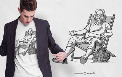 Design de t-shirt de homem de cadeira de praia