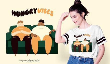 Design de t-shirt de vibrações com fome
