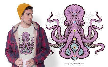 Diseño de camiseta pulpo chakras