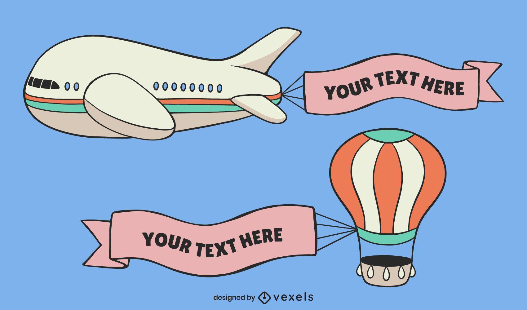 Conjunto de desenho de banner voador