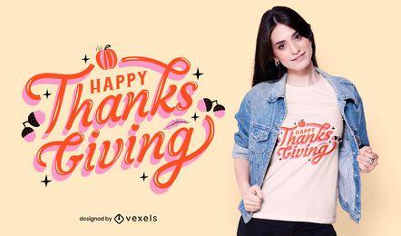 Feliz diseño de camiseta de acción de gracias