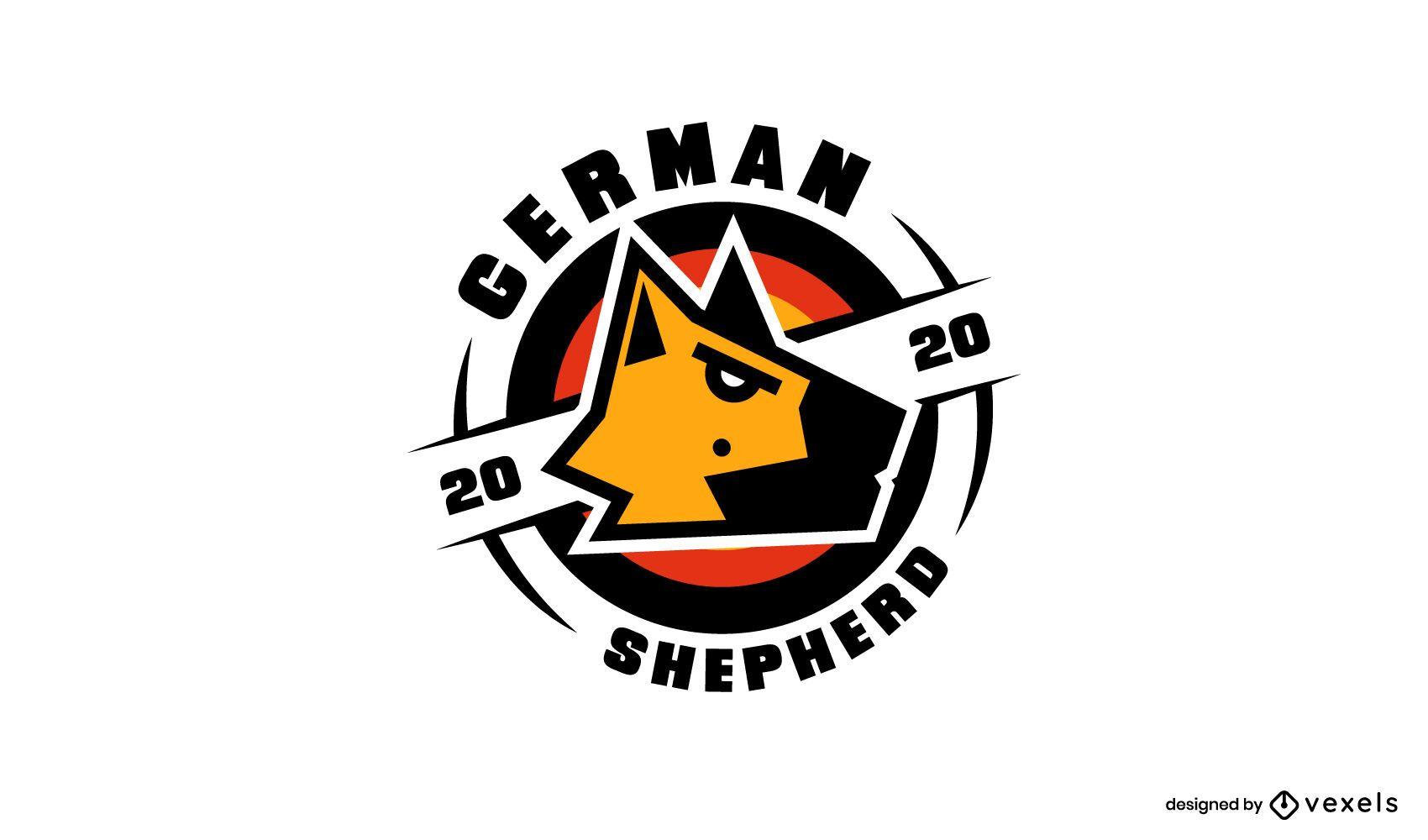 Modelo de design de logotipo de pastor alemão