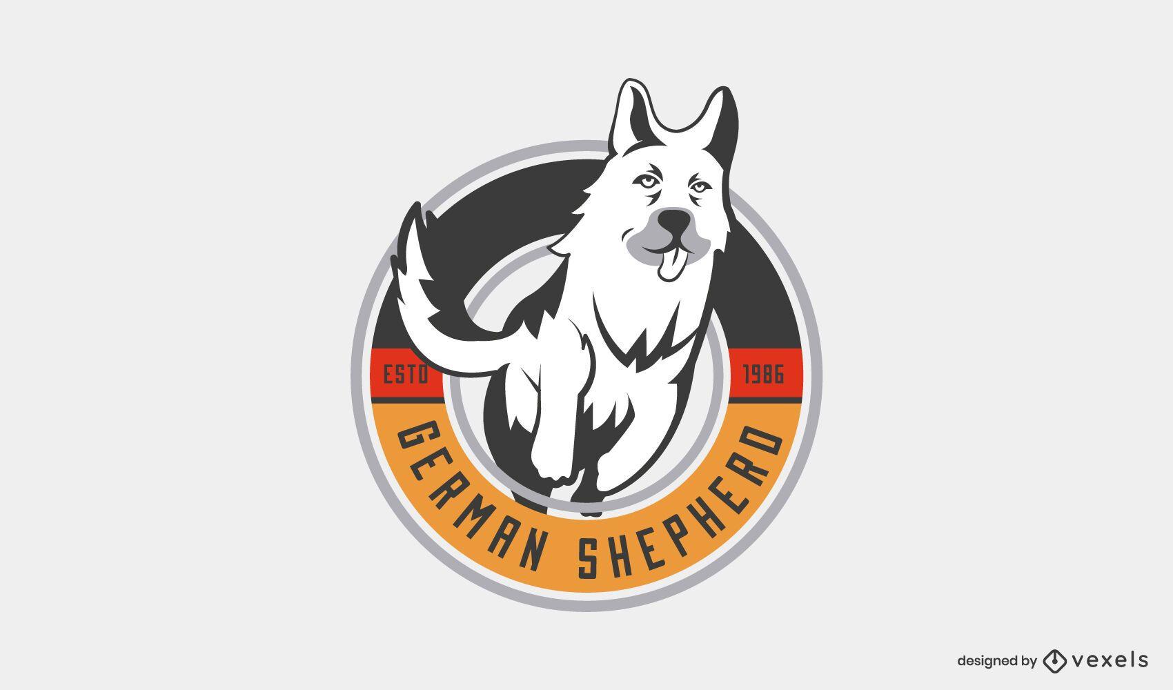 Modelo de logotipo de cão pastor alemão