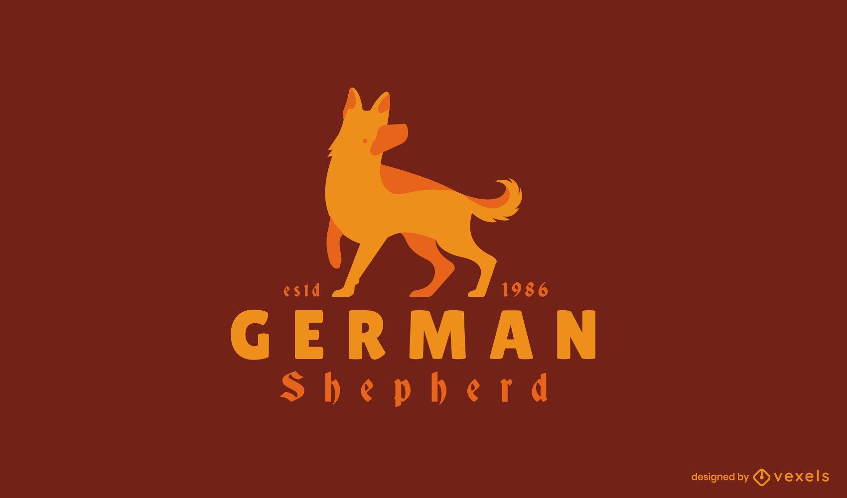 Design do logotipo do cão pastor alemão