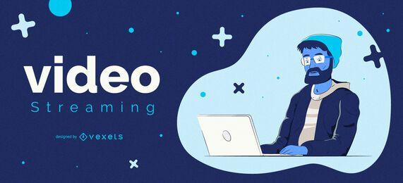 Design de capa de personagem de streaming de vídeo