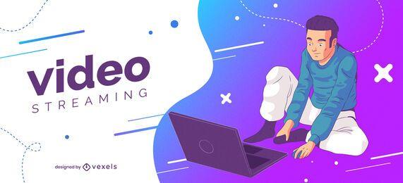 Design da capa da web para streaming de vídeo