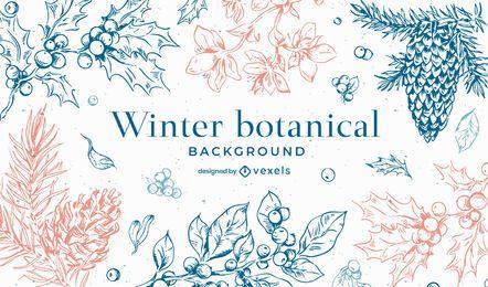 Desenho de fundo botânico de inverno