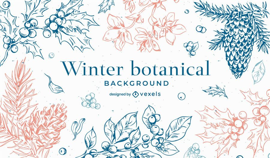 Winter botanical background design