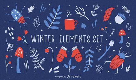 Conjunto plano de elementos de invierno