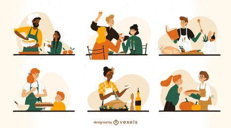 Conjunto de cozinha de caracteres de ação de Graças