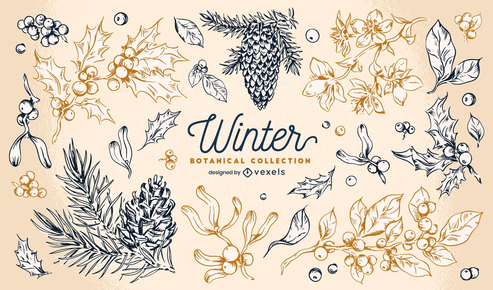 Winter elements botanical collection