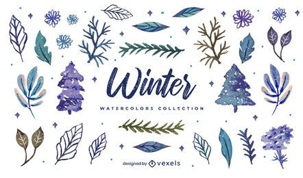 Winter elements watercolor collection