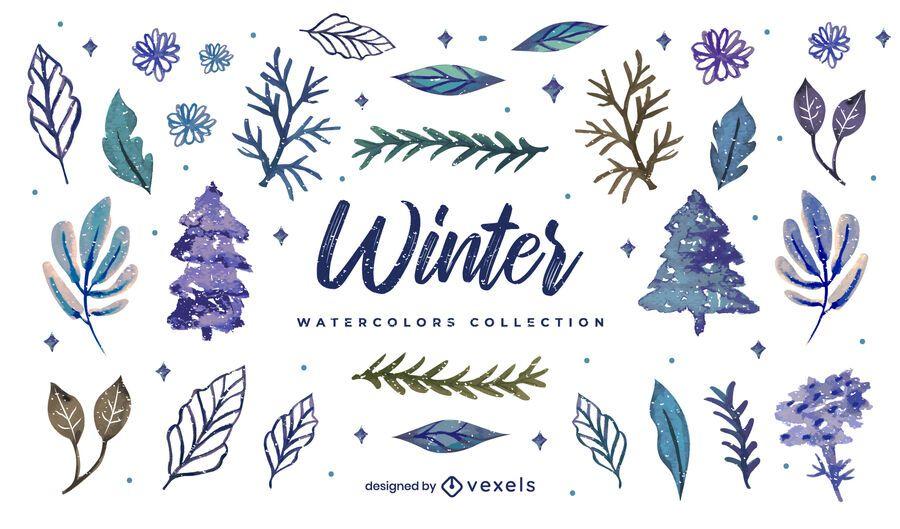 Colección de acuarela de elementos de invierno