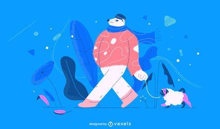 Ilustración de oso polar de invierno