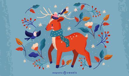 Ilustración de ciervos de invierno