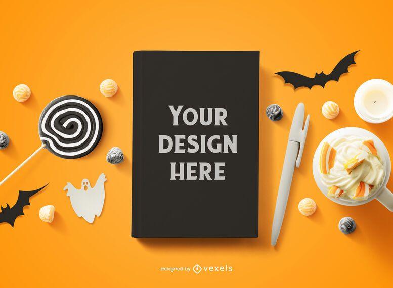 Composición de maqueta de portada de libro de Halloween