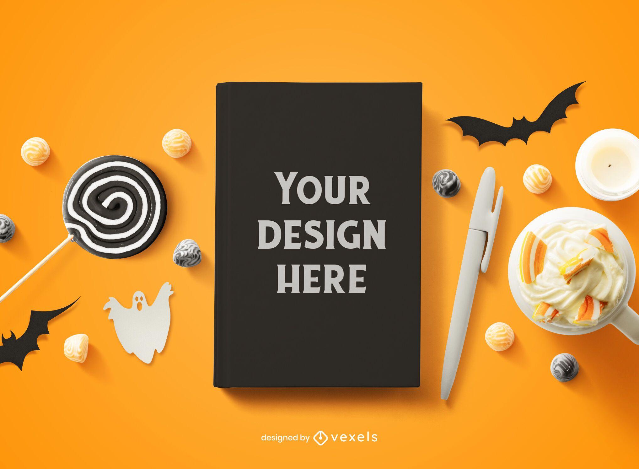 Composição de maquete de capa de livro de Halloween