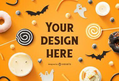 Composición de maqueta de halloween