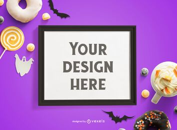 Halloween frame mockup composition