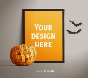 Halloween poster mockup composition