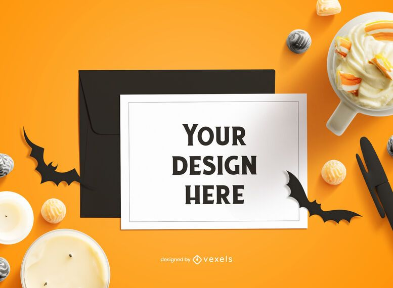 Halloween greeting card mockup composition