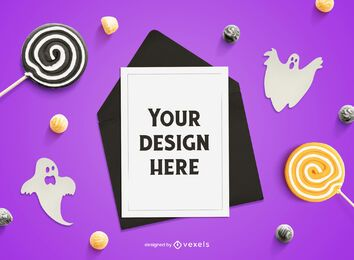 Halloween card mockup composition