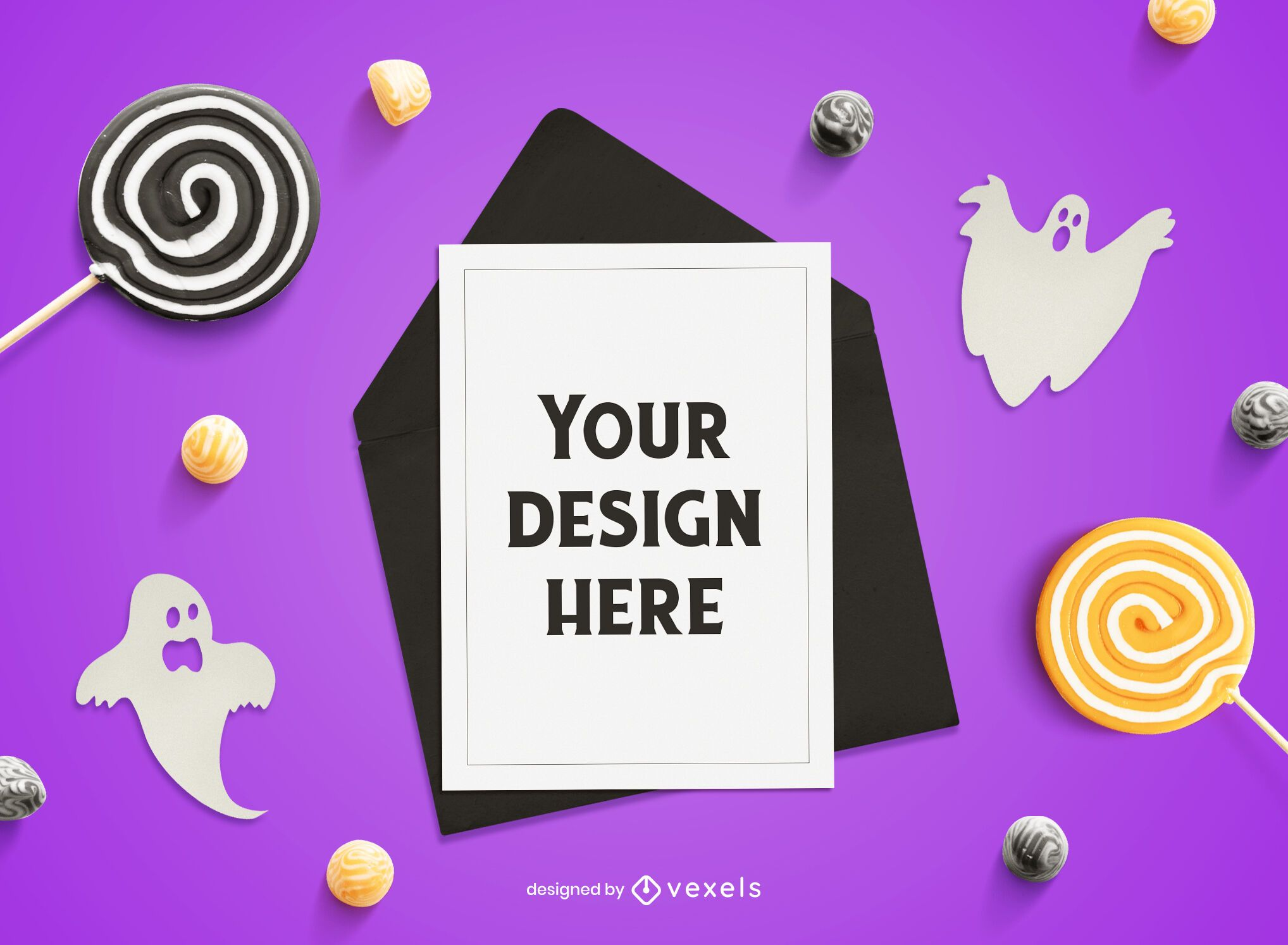 Halloween card mockup composition