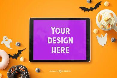 Composição de maquete de ipad de Halloween