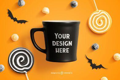 Composición de maqueta de taza de Halloween