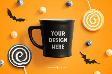 Halloween mug mockup composition
