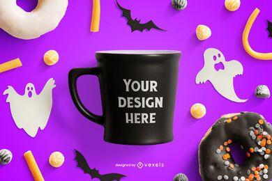 Composição de maquete de halloween de caneca