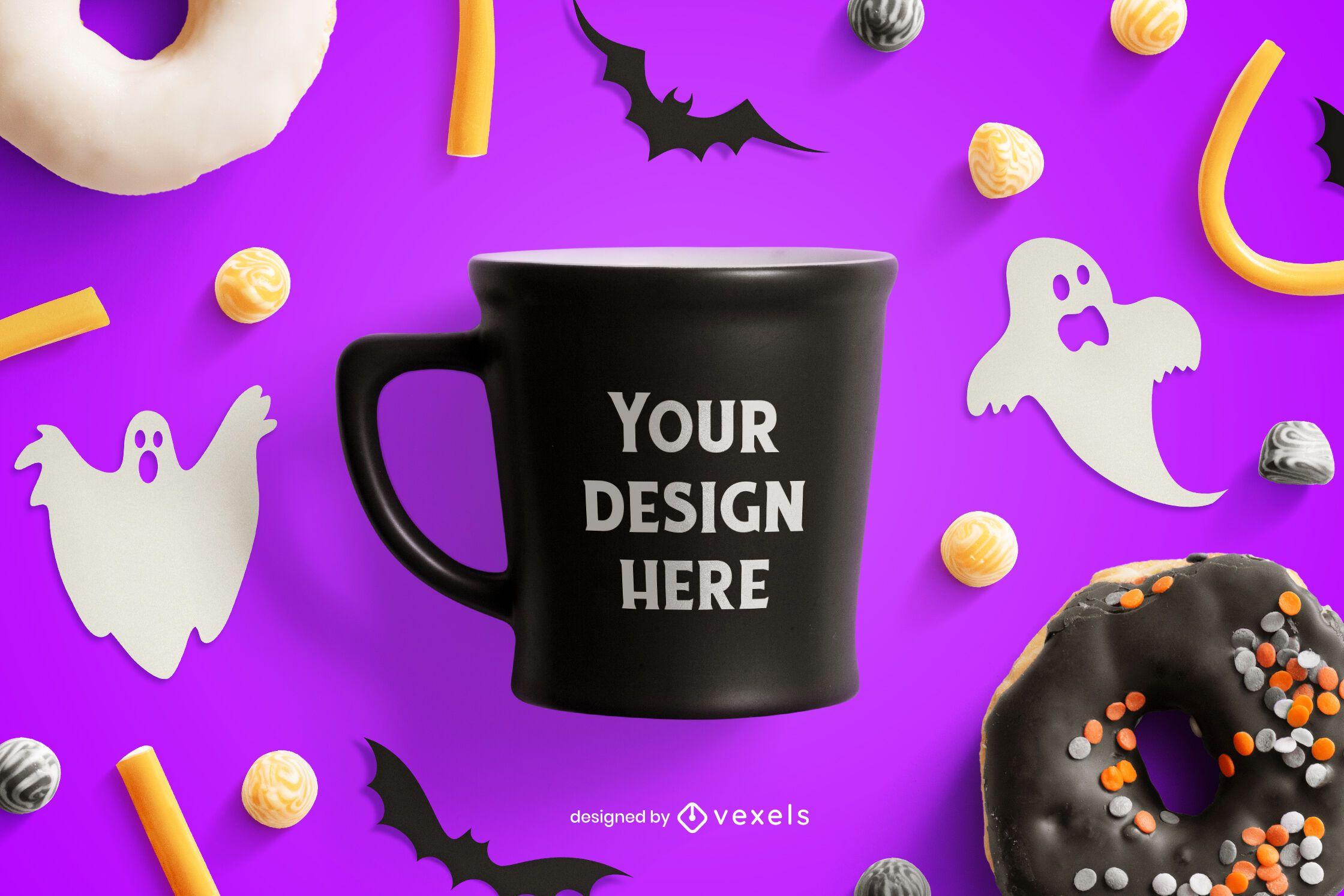 Composição de maquete de halloween para caneca