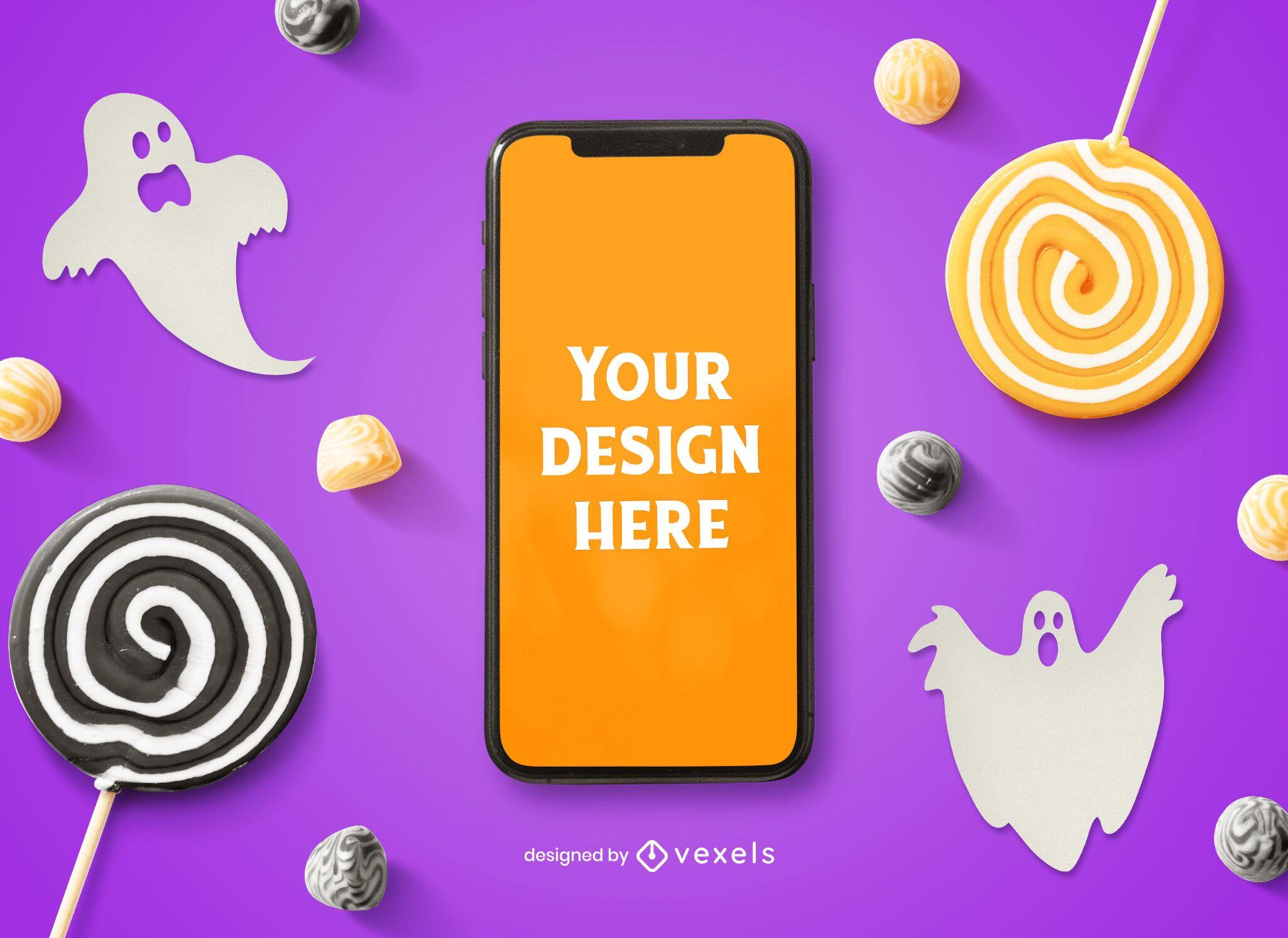 Composição de maquete de telefone para Halloween