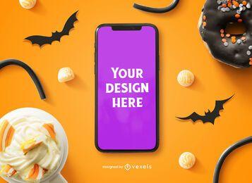 Composição de maquete de celular de Halloween