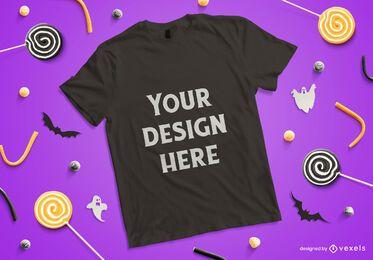 Composición de maqueta de camiseta de Halloween